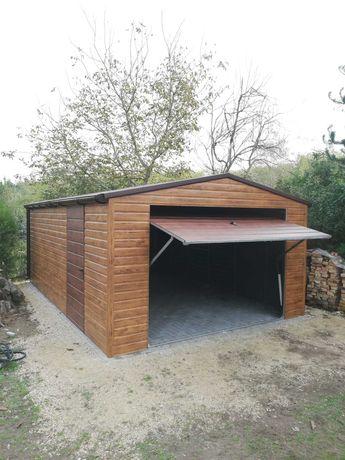 Garaż blaszany 4x6, drewnopodobny, schowek, wiata, tynkowany