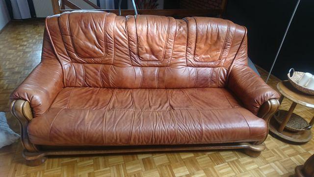kanapa ława 2 fotele skórzane dębowe rude ceglaste
