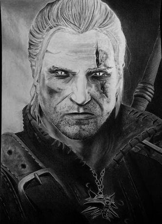 Wiedźmin Geralt, rysunek ołówkiem, portret A4 w antyramie