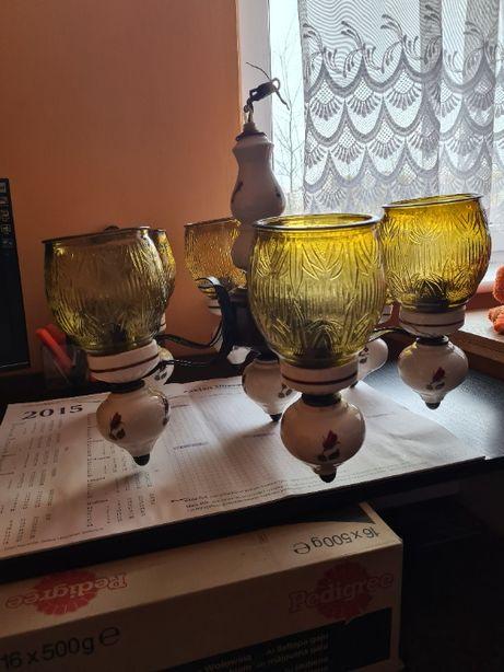 Żyrandol vintage porcelanowy