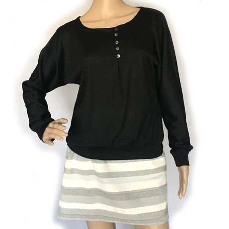 Sweter sweterek czarny guziki ściągacz L czarny