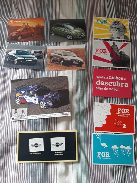 Coleção de postais promocionais automóveis
