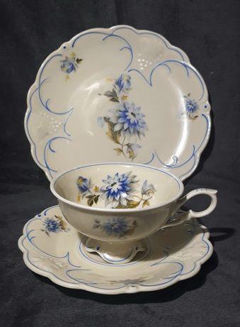 Trio, zestaw śniadaniowy, stara filiżanka porcelana Bavaria