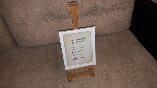 Мольберт настольный  подставка для картин тренога с рамкой бу