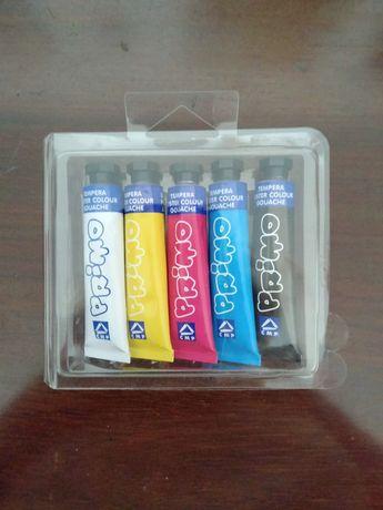Caixa com 5 tubos de guaches - Marca PRIMO.