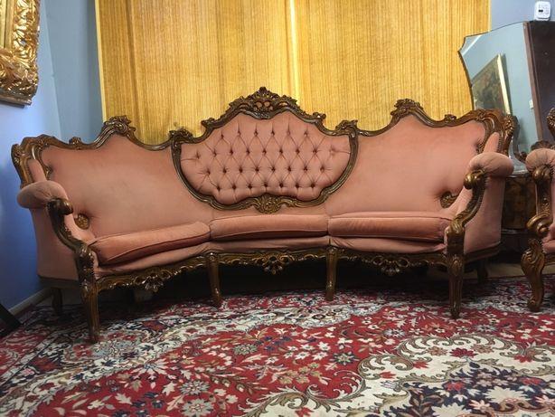 Barokowy rzezbiony komplet 250cm sofa + 2 fotele rarytas barok drewno