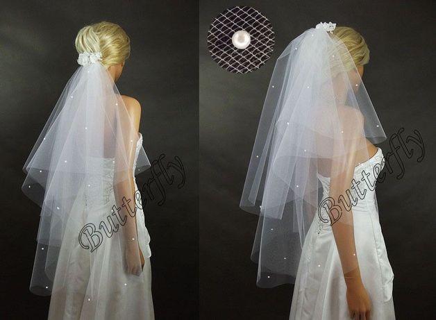 Welon ślubny koło 90/70 cięty, gęsto marszczony zdobiony perełkami