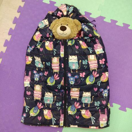 400 р. Очень тёплый конверт-одеяло для малышей в коляску или санки.