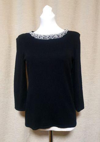 Czarny sweter z perłami, elastyczny, rękaw 3/4, Orsay
