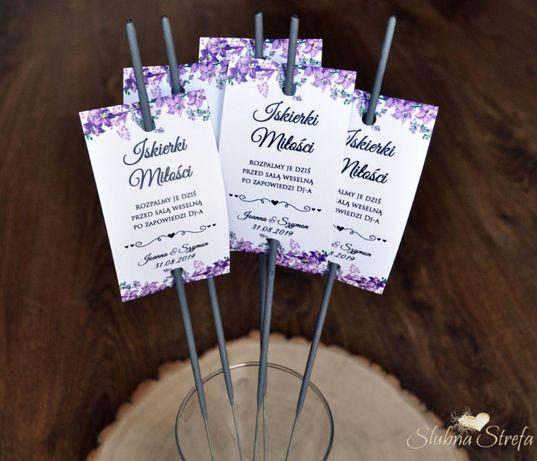 Bilecik zawieszka na zimnego ognia iskierki miłości ślub wesele