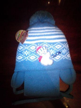 Шапка+шарф для мальчиков.
