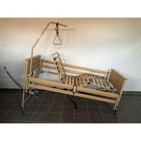 Łóżko rehabilitacyjne elektryczne 4-funkcyjne na pilota + wysięgnik
