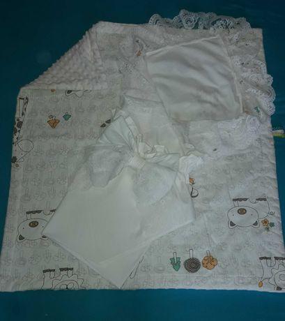 Летний плюшевый конверт- одеяло  на выписку