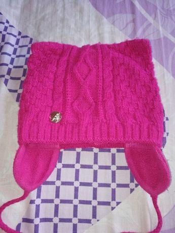 Шапка,зима, для девочки, зимняя шапка на девочку, с ушками