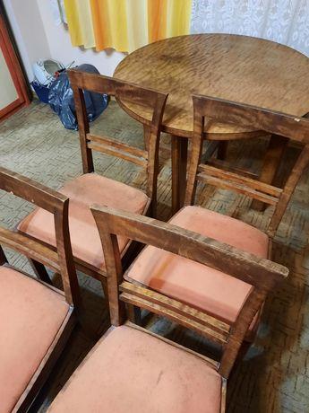 Krzesła 4szt. + stolik PRL