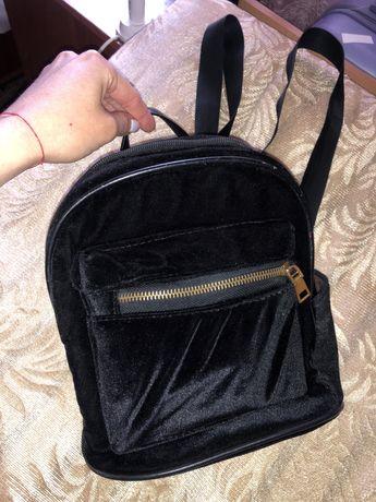 Рюкзак женский черный бархатный