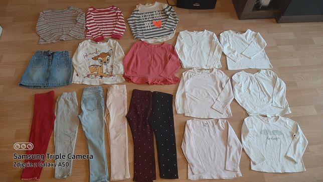 Paka dla dziewczynki Bluzki bluzeczki spodnie leginsy roz 3/4  98/104