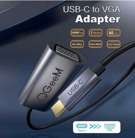 Adapter USB C- VGA / USB typ C - VGA 60Hz 1080P
