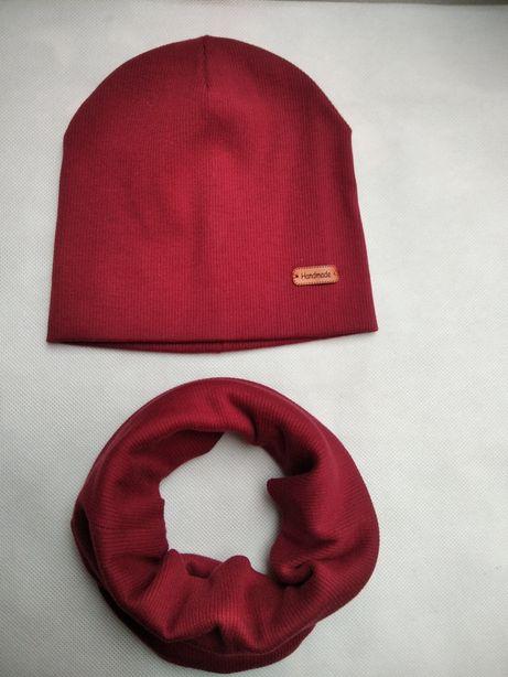 Komplet prążkowany czapka komin