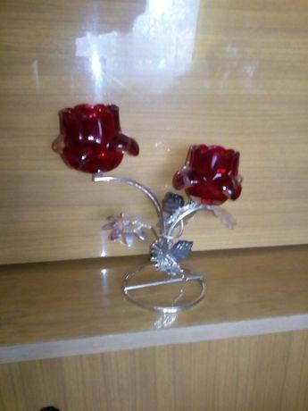 Świecznik czerwona roża