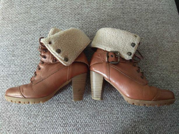 Buty zimowe damskie skórzane