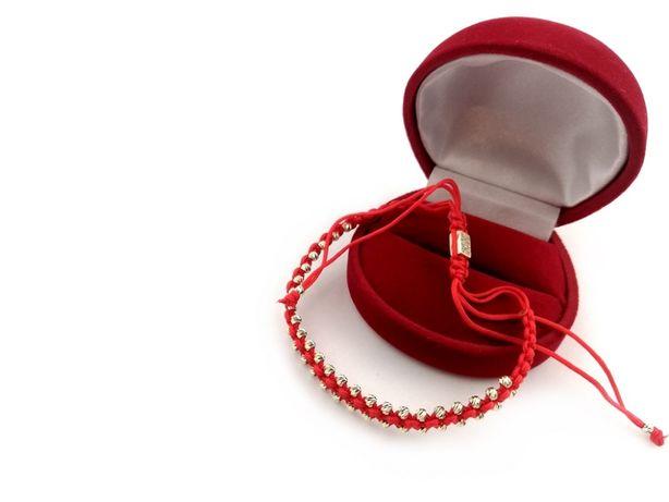 Nowa złota bransoletka NA SZNURKU KULKI 585 3,26G
