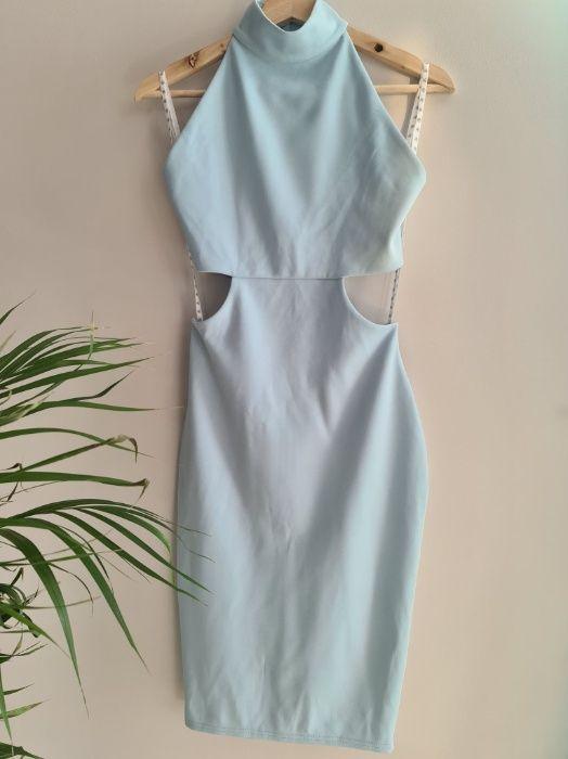 Śliczna jasnoniebieska sukienka z wycięciami rozm S Kraków - image 1