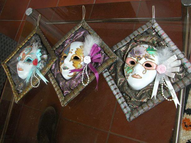 piękne zawieszki maski z porcelany i tkaniny