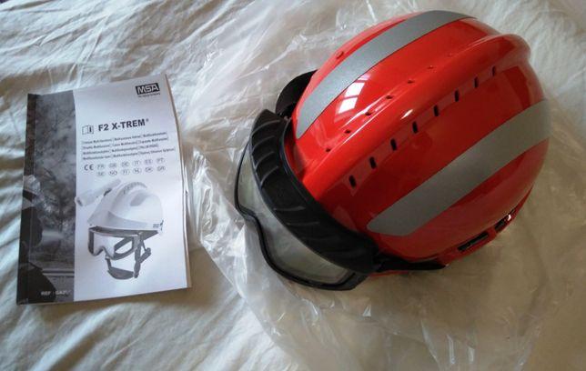 Capacete MSA F2 X-TREM com óculos. Bombeiro, incêndios florestais