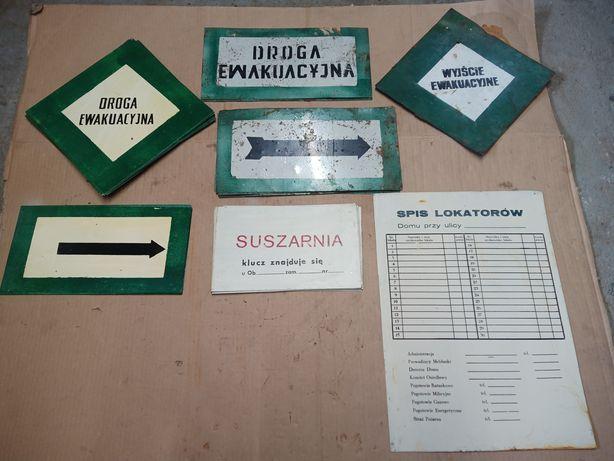 Tabliczka spis lokatorów PRL Mo milicja wyjście ewakuacyjne NOWE