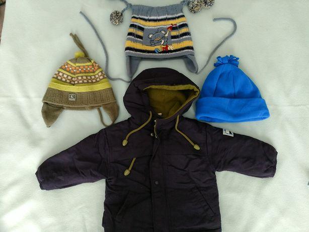 Kurtka zimowa z kapturem , czapka wiązana uszatka na 12m-cy Dąbrowa G