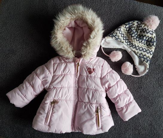 Kurtka + czapka zimowa dla dziewczynki roz. 68