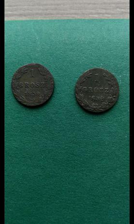 1 Grosz 1839 Królestwo Polskie. Dwie sztuki