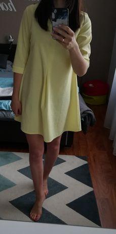 trapezowa żółta sukienka