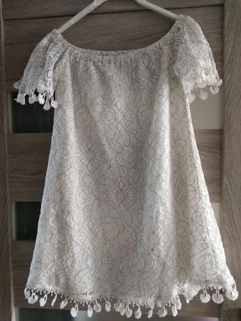 Biała tunika z koronką S In The Style
