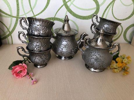 Серебристый сервиз чайный на 6 персон