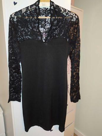 Mała czarna -  sukienka z koronką rozm. M 38