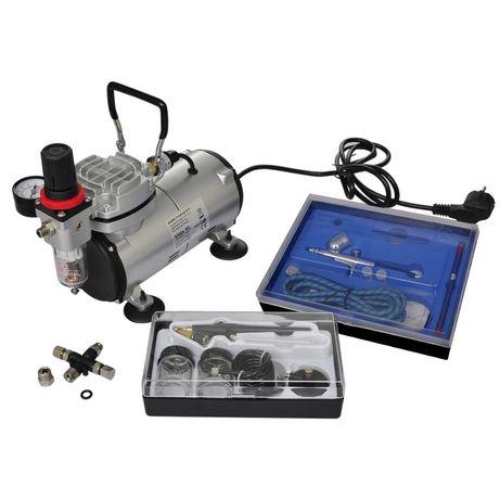 vidaXL Conjunto de compressor de ar com 2 aerógrafos 140283