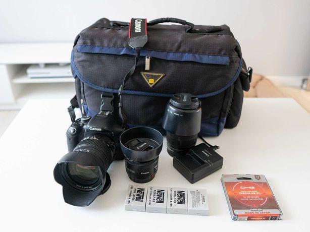 Lustrzanka Canon 600D + obiektywy. Ogromny zestaw. Okazja!