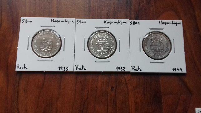 3 Moedas 5$00 Moçambique 1935 , 38 e 49 - Excelente Lote!