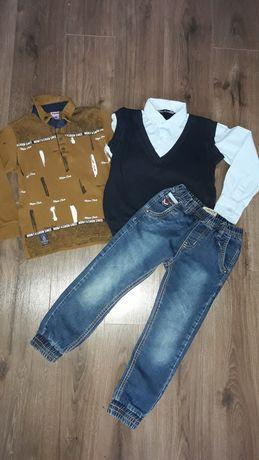 Джинсы и рубашка поло джемпер кофта р. 116