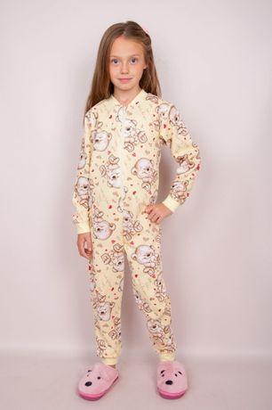 Пижама-комбинезон для девочки, рост 92-122, начес
