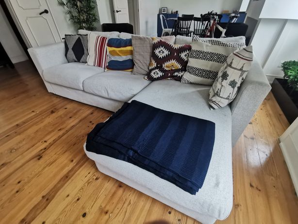 Sofá 3 lugares c/ chaisse longue/Gunnared bege - IKEA VIMLE