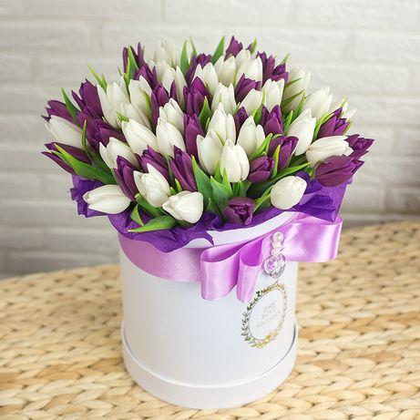 Шикарний букет тюльпанів. Квіти. Смачні букети. Подарок. Доставка.