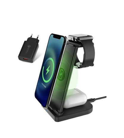 Wireless Charger 3 em 1 (Iphone, Apple watch, Airpods, Android)