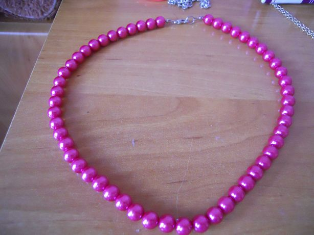 Kolia naszyjnik różowe perły eleganckie klasyczna biżuteria retro