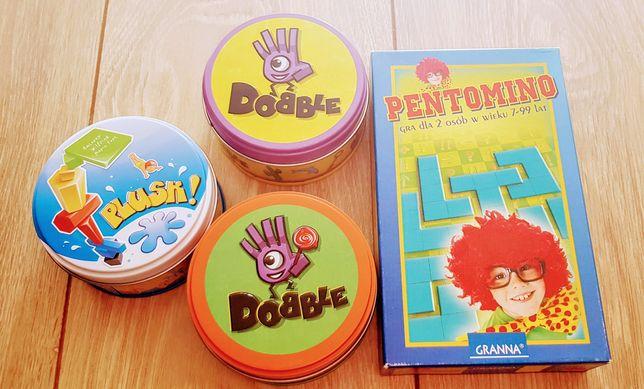 Dobble,Plusk+Pentomino-zestaw gier dla całej rodziny.