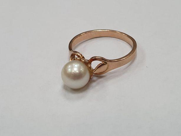 Piękny! Retro! Złoty pierścionek damski/ Perła/ 3.2 gram/ R16/ Gdynia