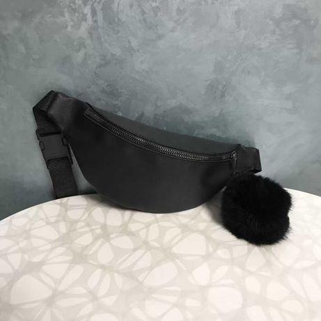 Бананка женская мужская поясная сумка черная с пушком черного цвета