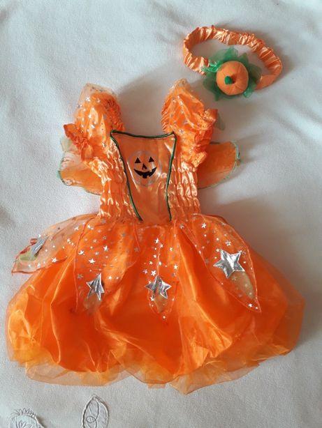 Красивое платье+повязка на голову, наряд Тыквочка, 6-9 мес.